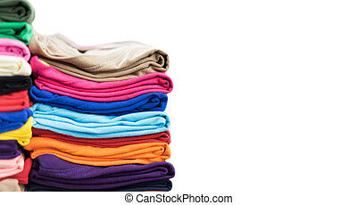 Stack T-shirts on isolated white background