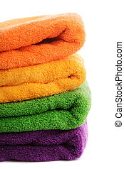 Stack towels isolated - Stack of colorfull towels isolated...