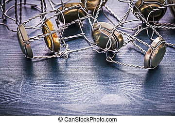 stack wires of champagnes corcks