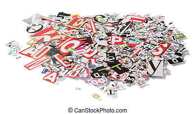 Stack with letters from newspapers isolated on white