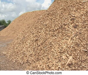 stack wood chips sawdust