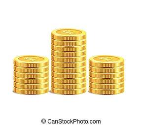 stack., złoty, monety, stos, bitcoin