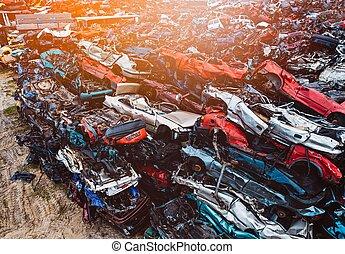 stackat, bilar, avfall, yard., ödelägg, kassera