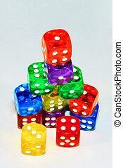 stacked, цветной, игральная кость
