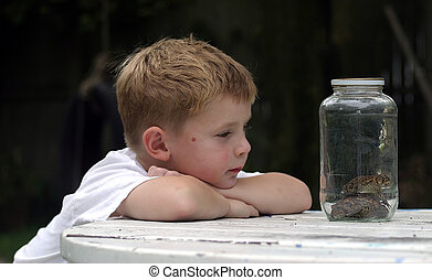 A little boy looking at two stacked toads in a jar.