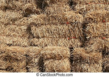 Stacked Bales of Hay are Displayed.