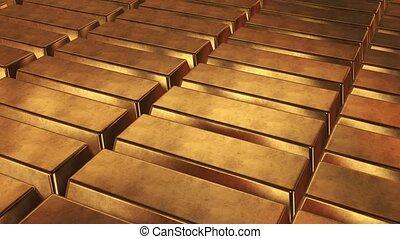 Stacked bars of gold bullion. HD