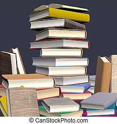 Stacked Books - Digital Design 3D rendered, photographic...