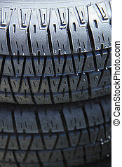 Stacked car tires