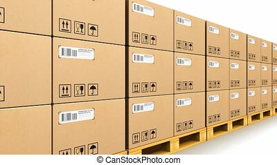 Stacked cardbaord boxes on shipping pallets - Shipment,...