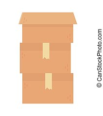 stacked cardboard boxes charity and donation concept