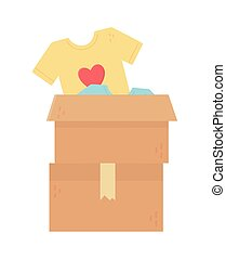 stacked cardboard boxes clothes charity and donation concept