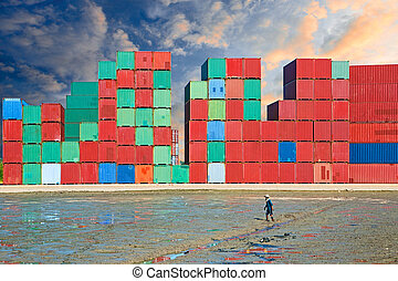 Stacked cargo containers.