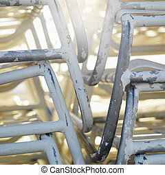Stacked chairs.