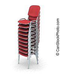 Stacked Chairs - digital render of ten stacked red chairs