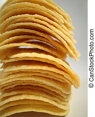 stacked chips - close up of potato chips