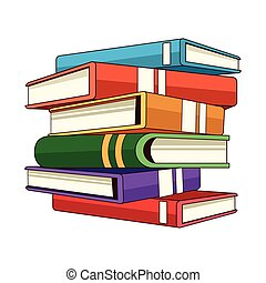 stacked closed books icon cartoon isolated