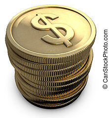 Stacked Coins - Stacked coins with a dollar symbol on a...