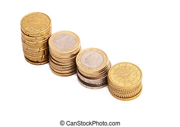 stacked coins isolated on white background