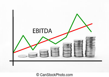 Stacked Coins on Ebitda - business, growth, make money,...