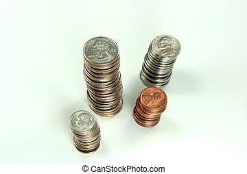 US quarters, dimes, nickels, and pennies stacked
