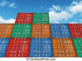 Stacked color cargo containers over the blue sky with clouds...