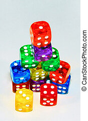 Stacked colored dice