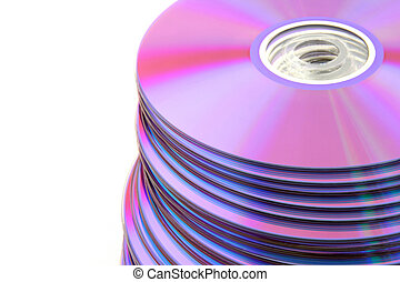 Stacked colorful DVDs or CDs