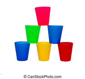 Stacked Coloured Cups