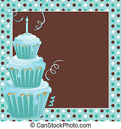 Stacked Cupcakes 1st Birthday Party - Cute polkadot...