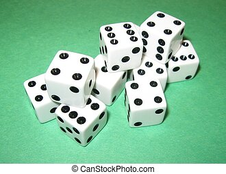 Stacked Dice on Green