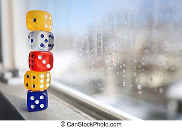 Stacked Dice on Window Sill