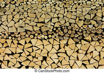 Stacked firewood, background