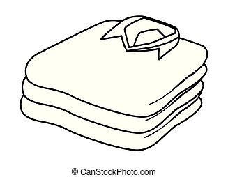 stacked folded clothes icon cartoon black and white
