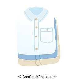 Stacked folded shirts. Stack of neatly folded clothes. Vector illustration