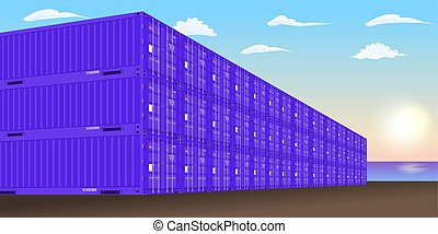 Stacked freight containers at a sea port dock. Vector illustration.