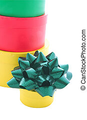 stacked gift boxes and bows