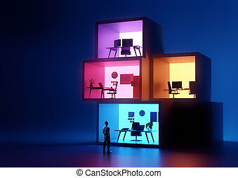 Stacked Glowing business Office Workplaces