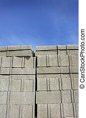stacked gran construction block piles