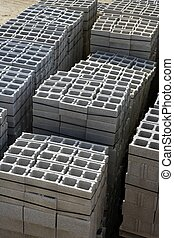 stacked gran construction block piles