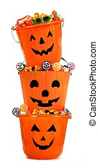 Stacked Halloween Jack o Lantern candy holders over white