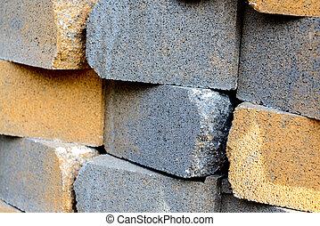 masonry building materials, bricks - stacked masonry...
