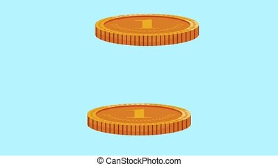 Stacked money coins HD animation