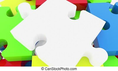 Stacked on top of each other puzzle pieces