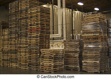 Stacked pallets in factory