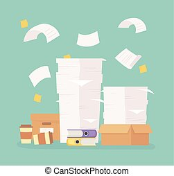 stacked paperwork folders boxes office work frustration stress