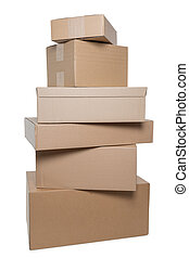 Stacked parcels - Stack of six parcels in different sizes...