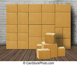Stacked or piled carton boxes declutter