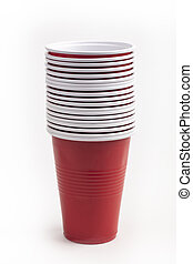 Stacked Red plastic cups isolated over white background