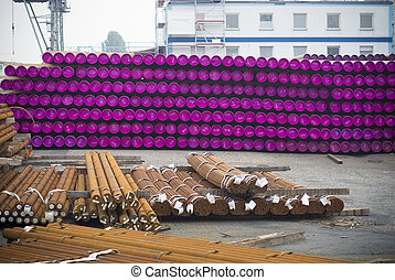 stacked pvc pipes